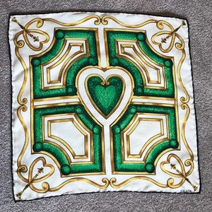 Vintage Escada silk neck scarf green/gold hearts